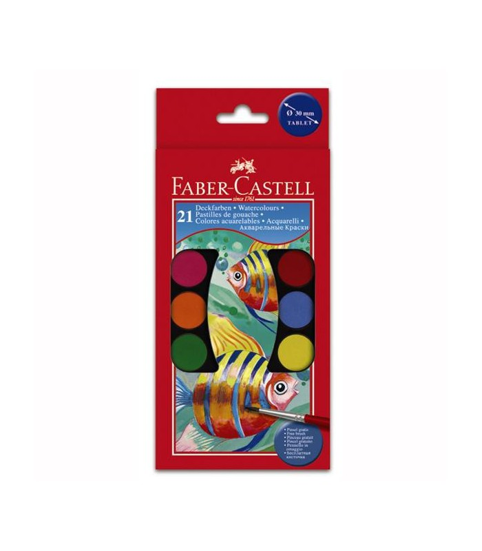 Acuarele 21 culori 30 mm cu pensula FABER-CASTELL
