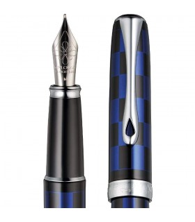 Stilou cu penita M, din otel inoxidabil - Rome Black Blue Excellence A DIPLOMAT