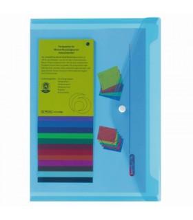 Mapă protecție A4 cu capsă de închidere, culoare albastru transparent Herlitz