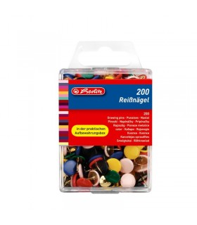 Pioneze metalice colorate, 200 buc/cutie, HERLITZ
