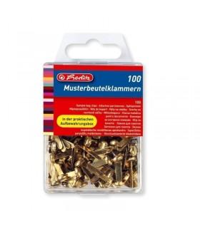 Clema metalica pentru prins plicuri si documente, 100 buc/cutie, HERLITZ