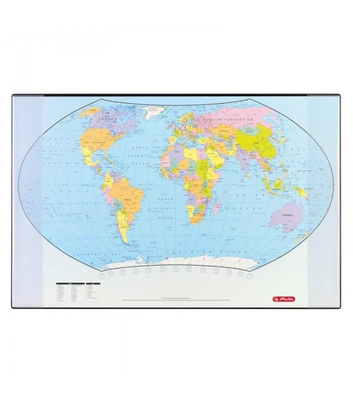 Mapa de birou 68 x 44 cm, harta lumii, Herlitz