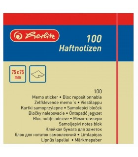 Notes adeziv 75x75 mm, 100 file, galben HERLITZ
