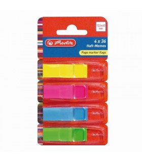 Notes index plastic, 12,5 x 43 mm, 4 culori neon x 36 file HERLITZ
