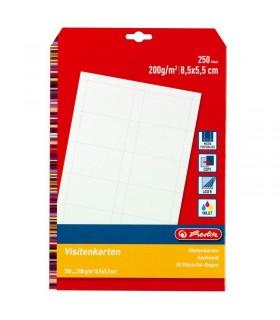 Carton perforat carti de vizita, 250 buc / set, 200 gr, 85 x 55 mm HERLITZ