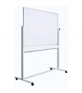 Tabla alba magnetica, fata dubla, rotativa, 100 x 200 cm, pe stand mobil, profil aluminiu, OPTIMA