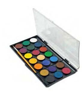 Acuarele 21 de culori 30 mm cu pensula ADEL