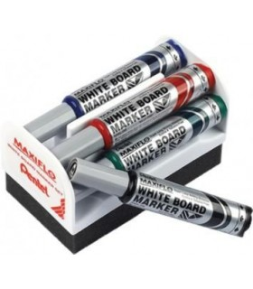 Marker tabla de scris, vf rotund 4.00 mm + burete magnetic PENTEL MAXIFLO