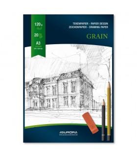 Bloc desen A3 20 file carton alb AURORA Grain