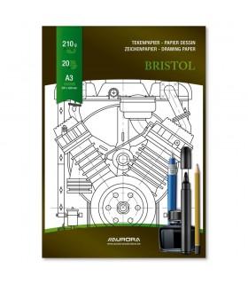 Bloc desen A3 20 file - 210g/mp AURORA Bristol - carton alb