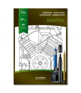 Bloc desen A4 20 file 210 g/mp carton alb AURORA Bristol