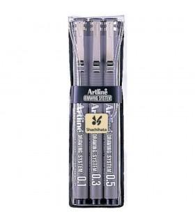 Marker pentru desen tehnic varf fetru 3 buc/set, negru ARTLINE