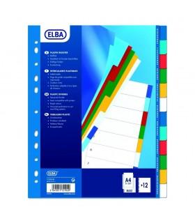 Separatoare plastic A4 XL, 120 microni, 12 culori/set, ELBA