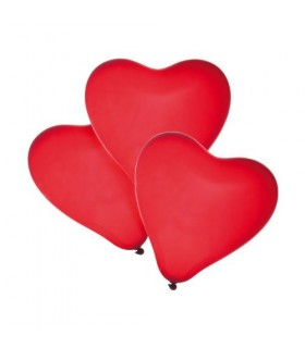 Baloane forma inima rosie, calitate helium, biodegradabile, 4 buc/set HERLITZ