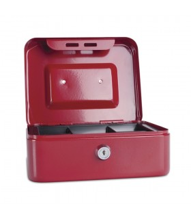 Caseta (cutie) bani metalica, rosie, 200 x 160 x 90 mm DONAU