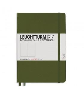 Caiet A5 punctat coperta rigida verde army LEUCHTTURM