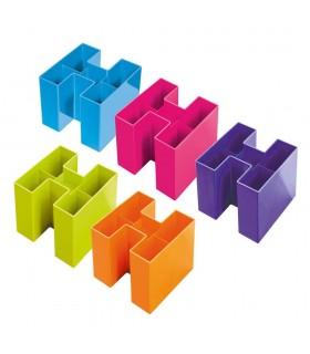 Suport instrumente de scris, 5 compartimente, diverse culori vibrante, HAN Bravo