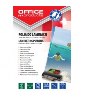 Folie pentru laminare 65 x 95 mm, 125 microni, OFFICE PRODUCTS