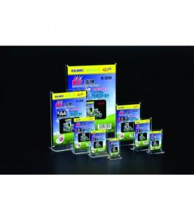 Display plastic cu magneti, pentru pliante, forma T, A7-portrait, transparent, KEJEA