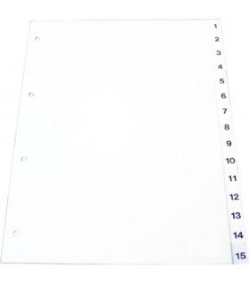 Index plastic numeric 1- 5, A4, 120 microni, gri OPTIMA