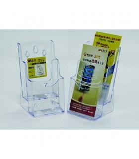 Display plastic pentru brosuri, de birou/perete, 2 x 1/3 A4, transparent, KEJEA