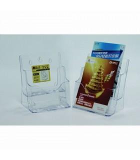 Display plastic pentru brosuri, de birou/perete, 2 x A5, KEJEA - transparent