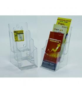 Display plastic pentru brosuri, de birou/perete, 3 x 1/3 A4, transparent, KEJEA