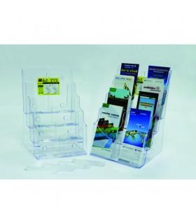Display plastic pentru brosuri, de birou/perete, 4 x A4-portrait, KEJEA - transparent