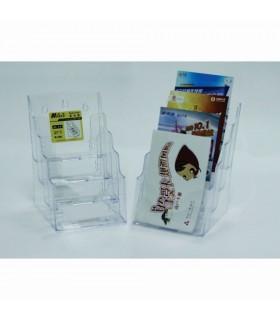 Display plastic pentru brosuri, de birou/perete, 4 x A5, transparent, KEJEA