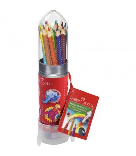 Set cadou racheta 15 creioane colorate Grip si ascutitoare FABER-CASTELL
