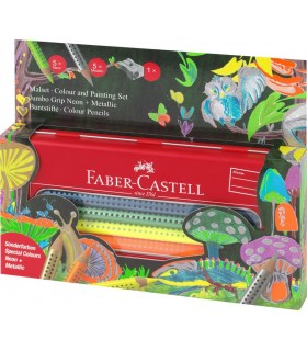 Set cadou 10 culori metalizate si neon Jumbo Grip FABER-CASTELL