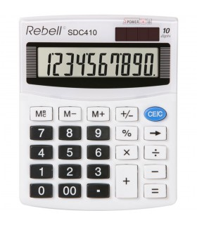 Calculator de birou, 10 digiti, SDC 410, 125 x 100 x 27 mm, alb, REBELL