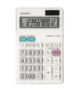 Calculator de birou, 12 digiti, EL-320W, 153 x 97 x 18 mm, alb, SHARP