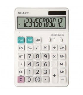 Calculator de birou, 12 digiti, EL-340W, 189 x 127 x 18 mm, dual power, alb, SHARP