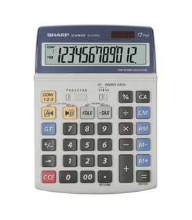 Calculator de birou, 12 digiti, EL-2125C, 195 x 140 x 23 mm, dual power, gri, SHARP