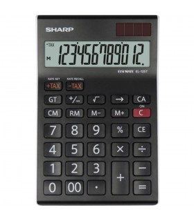 Calculator de birou, 12 digiti, EL-125TWH, 176 x 112 x 13 mm, dual power, negru, SHARP