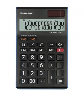 Calculator de birou, 14 digiti, EL-144TBL, 155 x 97 x 12 mm, dual power, negru, SHARP