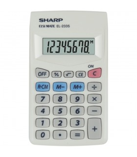 Calculator de buzunar 8 digiti  EL-233S 103 x 60 x 8 mm alb SHARP