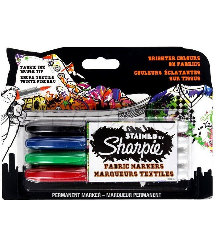 Marker permanent pentru textile Stained by Sharpie 4/set