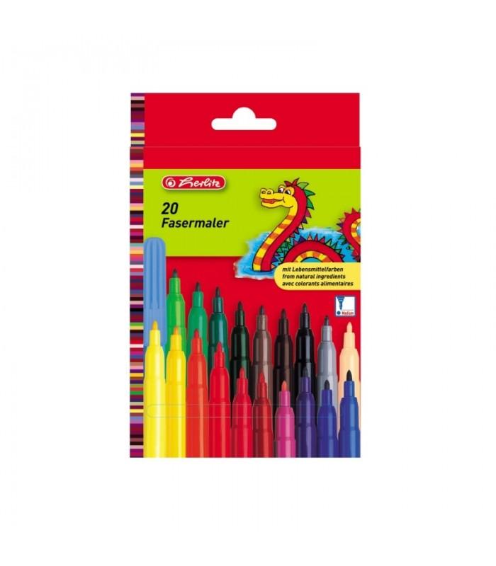 Cariocă 2 mm set 20 bucăți culori asortate, Herlitz