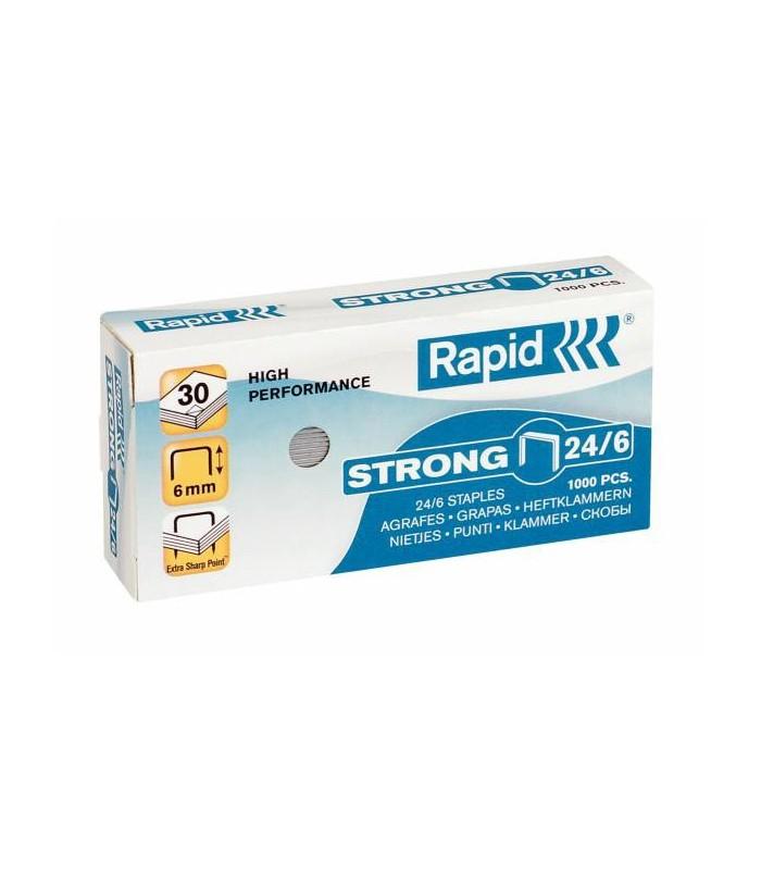 Capse pentru 30 coli, 1000 buc/cutie, model Strong 24/6 RAPID