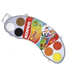 Acuarele 12 culori 25 mm cu pensula, Akuarellos mini KORES
