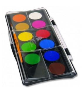 Acuarele 12 culori 30 mm cu pensula ADELE