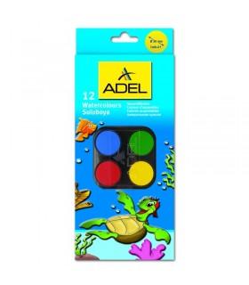 Acuarele 12 culori cu pensula ADEL