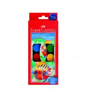 Acuarele 12 culori 24 mm pensula FABER-CASTELL