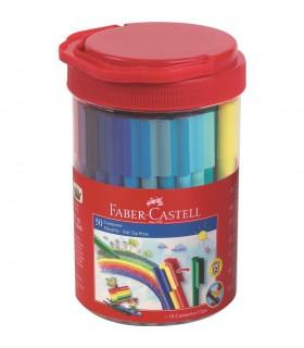Carioci cu clip Connector 50 culori in borcan FABER-CASTELL