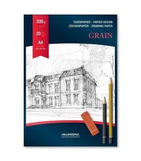 Bloc desen A4 20 file hartie alba AURORA Grain