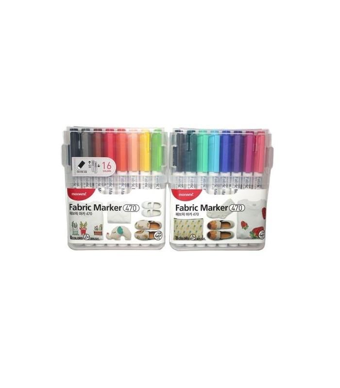 Marker pentru textile 15 culori + 1 contur set, Fabric 470 MONAMI