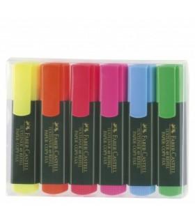 Textmarker set 6 culori, varf tesit 1.0 - 5.0 mm FABER - CASTELL