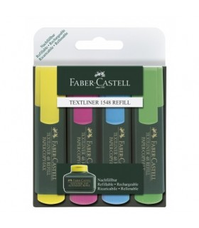 Textmarker set 4 culori, varf tesit 1.0 - 5.0 mm FABER - CASTELL